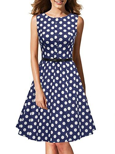 LUOUSE Damen 1950 50er Vintage Rockabilly Party Kleider Abendkleider Cocktailkleid mit Versteckten Taschen,Navy,M (Edel Abendmode)
