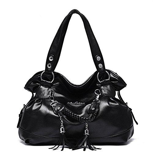 HQYSS Borse donna PU cuoio temperamento stereotipi donne Casual con frange spalla borsetta , coffee color black