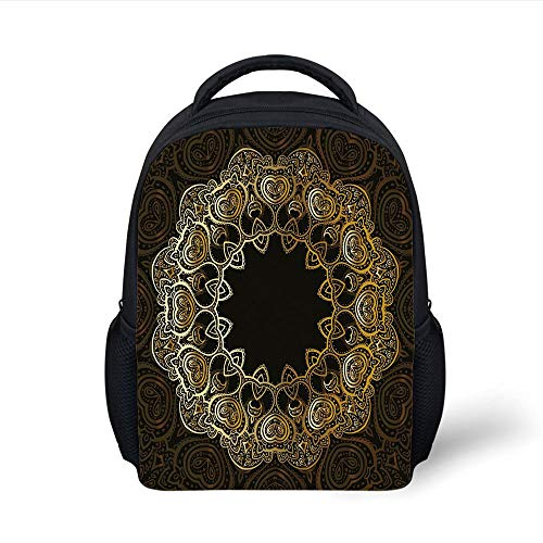Kids School Backpack Gold Mandala,Ring Shaped Mandala with Blossoms and Hearts Tribal Sacred Elements Decorative,Gold Black Yellow Plain Bookbag Travel Daypack (Rolling Gold Ring)