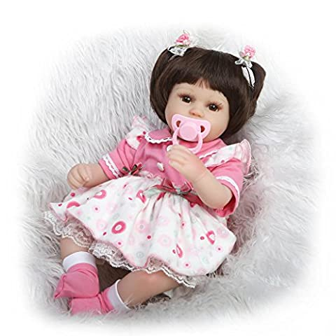 Nicery Reborn Baby Doll Soft Simulation Silicone Vinyl 18inch 45cm Magnetic Mouth Lifelike Toy Boy Girl White Round Dress Eyes