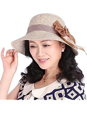 Grass Hat playa Hat sombrero para el sol bloqueador solar big nudo mariposa confort dama moda,brown