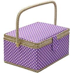 Caja de costura con accesorios para kit de costura, organizador de cesta de costura de madera D&D con accesorios para el hogar, viajes, lunares azules, grande Large L - PURPLE