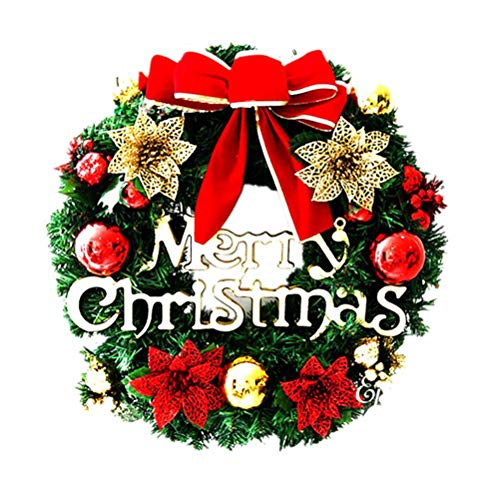 BESTOYARD Christmas Door Wreath Christmas Ball Ornaments Christmas Window Wall Decorations 30cm