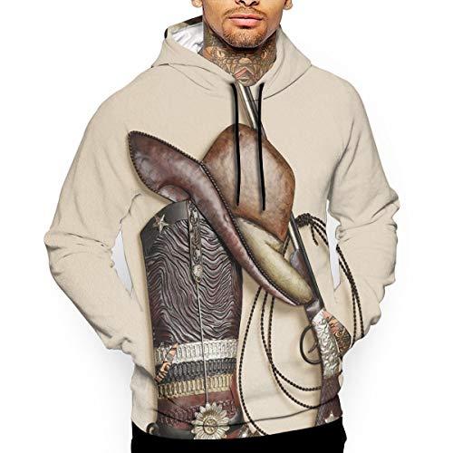Cowboy Herren Sweatshirt (PecoStar The Traditional American Cowboy Herren Sweatshirts Long Sleeve Hoodies 3D Print Pullover S M L XL 2XL Gr. XX-Large, weiß)