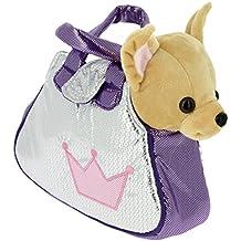 Bolso brillante plata y lila con un perrito Chihuahua marron de peluche - 28cm Calidad Soft