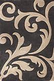 Lalee 347181308 Moderner Designer Teppich/Muster : Ranke/Konturenschnitt/Grau Beige/Grösse : 120 x 170 cm