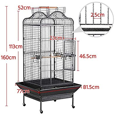 Yaheetech Large Metal Bird Cage Open Playtop Parrot Cage for African Grey Parrots Conure Cockatiels w/Rolling Stand 81.5 x 77 x 160 cm (WxDxH) by Yaheetech