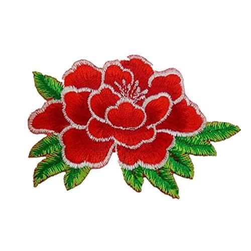 Peonia Rosa Floreale Ricamato appliques cucire o FERRO su Patch Red