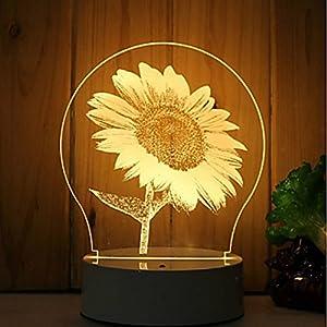 3D El girasol Flor lámpara luz nocturna óptico Illusions 7 Cambio de color acrílico Tocar Tabla Lámpara de escritorio para niños Dormitorio Regalos de Navidad, Cumpleaños