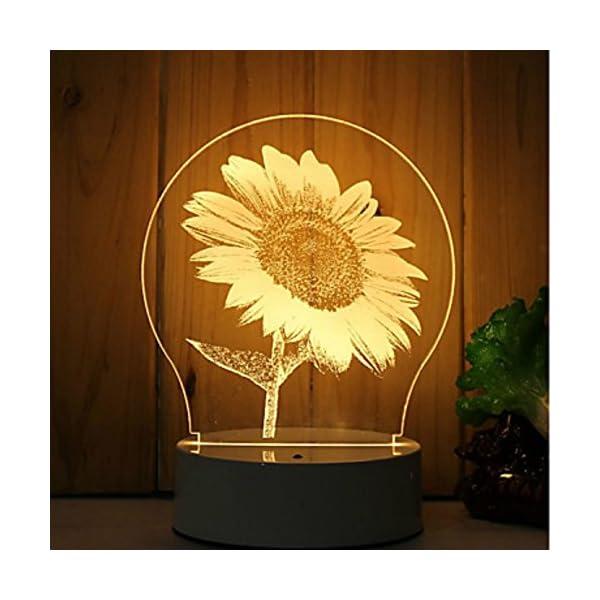 3D El girasol Flor lámpara luz nocturna óptico Illusions 7 Cambio de color acrílico Tocar Tabla Lámpara de escritorio…