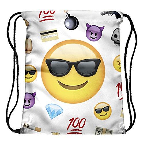 Imagen de fullprint, bolsa  con cordón, para hombre, mujer o niños, para la escuela, como bolso de mano o para el gimnasio multicolor emoji thug uno talla  alta 40 cm/longitud 33 cm