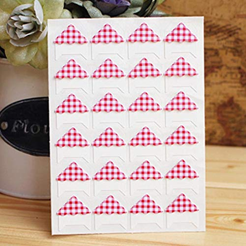 Lizhuofush Unxzeptible 3 -Blätter \\ Lot DIY Retro Plaid Stripes Corner Paper Stickers for Photo Album Fitting Handwork Frame Albums Dekorating Scrapbooking(None Red Grid)