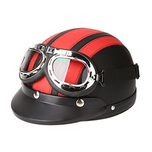 KKmoon Motorrad Scooter gesichtsoffen halbe Leder Helm mit Visier UV-Schutzbrillen Retro Vintage-Stil 54-60cm(Rot)