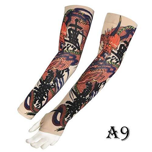 JinRui-Sport Tattoo Sleeve Outdoor-Sportarmband männliche Sonnencreme Tattoo Hülle, L, A9 Drache 2 Packungen