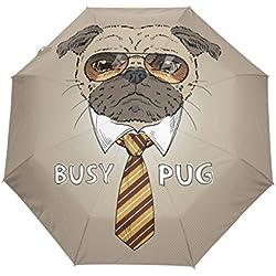 bennigiry Cool Pug Dog Face Gafas de sol 3Folds Auto Abrir Cerrar paraguas compacto de viento portátil durabilidad viaje lluvia paraguas fácil de llevar