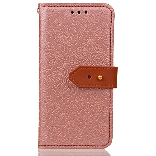 Custodia iPhone 6S plus Cover iPhone 6 plus,Ukayfe Flip Cover Wallet Case Custodia per iPhone 6S plus in pelle PU,iPhone 6 plus Lussuosa Astuccio Custodia Cover [PU Leather] [Shock-Absorption] Protett Murale Oro rosa
