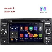 freeauto para Ford Focus II (2005–2007) (2005–2007), C-Max S-Max (2006–2011) Android 7.1Quad Core 7Inch Doble DIN coche reproductor de DVD pantalla táctil HD GPS navegación con cámara de visión trasera (negro)