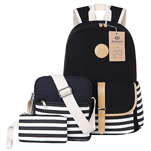 BLUBOON Tela Zaino Scuola Canvas Backpack Casual, Ragazza /Donna Zaini Vintage + Sacchetto di spalla / Messenger Borse + borsa grande 3PCS set (Nero-08)