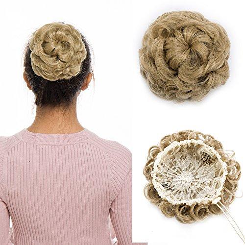 Chignon capelli finti biondi ricci extension con clips e cordicella elastica hair magic bun coda di cavallo ponytail extensions accessori 55g - biondo cenere