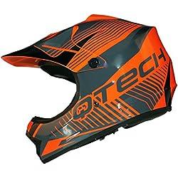 CASQUE de MOTO pour ENFANT Motocross NOIR MAT ATV Quad - Orange - XS