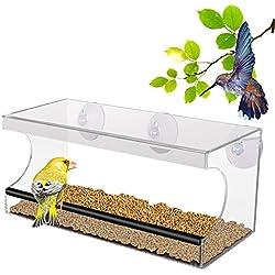 PEDY Alimentador de Pájaros Comederos para Pájaros Material de Cristal Acrílico Transparente con 3 Ventanas Alimentador de Ventana de Succión de Gran Almacenamiento (Pájaro)