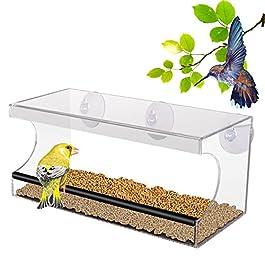 PEDY Mangiatoia Trasparente per Uccelli, Mangiatoia con 3 Ventose Mangiatoia Acrilico con Vassoio Rimuovibile 30*10*13 cm