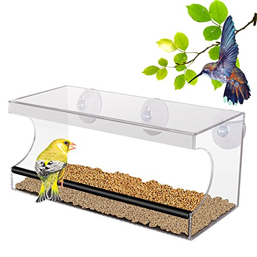 Galleria fotografica PEDY Mangiatoia Trasparente per Uccelli, Mangiatoia con 3 Ventose Mangiatoia Acrilico con Vassoio Rimuovibile 30*10*13 cm