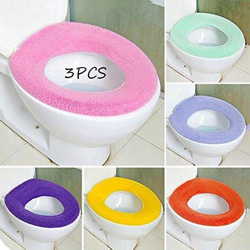 Kicode 3 pacco caldo toilette o-type sede copertura bagno toilette pad-facilmente removibile lavabile ramdom colore
