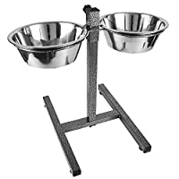 Dog Elevated Food Bowl Holder Set - Raised Cat Feeding Station Stand - Adjustable Height Pet Double Feeder - 2 Stainless Steel Water Bowls (Black XLarge)