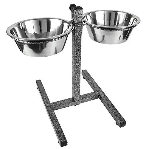 Hund erhöhter Futternapf Halter Set–erhöhter Futternapf Katze Station Stand–verstellbarer Doppel Höhe Pet Feeder–2Edelstahl Wasser Schalen