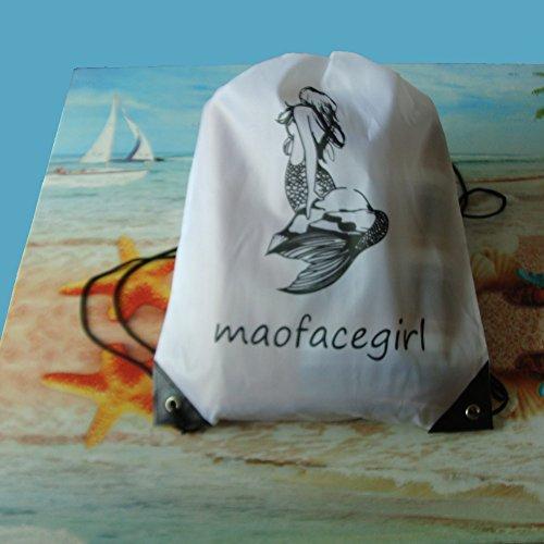 Drawstring Tasche Tote Party Gefälligkeiten, Kunst & Handwerk Aktivität Pack, Reise Daypack, Yoga Gym Rucksack, Meerjungfrau Muster weiß. 10