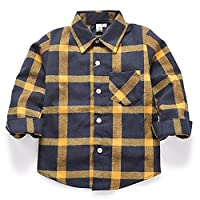 Boys Girls Long Sleeve Button Down Plaid Flannel Shirt E017-130CM
