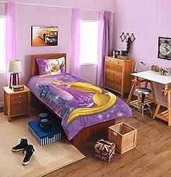 Spaces Disney Rapunzel 180 TC Cotton Single Bedsheet with 1 Pillow Cover - Character, Lavender