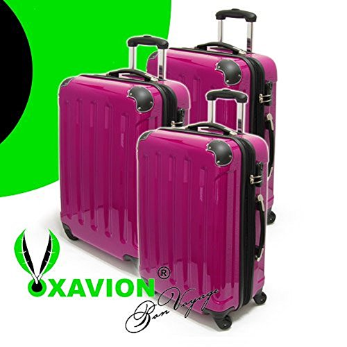 XAVION 3-tlg. Kofferset aus Polycarbonat, Gr. M+L+XL, PINK