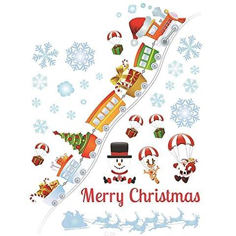 Gosear Weihnachten Dekoration Wand Glas Fenster Decals Aufkleber Weihnachten Decor Liefert für Shop Bar Startseite Partei 70 x 120cm/ 27.56 x 47.2 inch Zug Stil