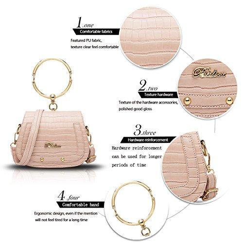Sunas Borsa della borsa del sacchetto della sella dell'anello del sacchetto del messaggero della spalla di 2017 nuove donne della borsa del coccodrillo impresso rosa