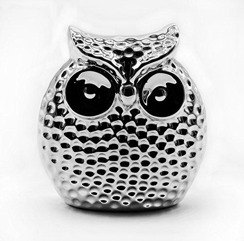 Aldagio Design Süße Eule aus Keramik mit großen Augen zur Dekoration, moderner Deko-Uhu in Silber, Statue 11 cm groß, gut als Geschenk-Idee geeignet