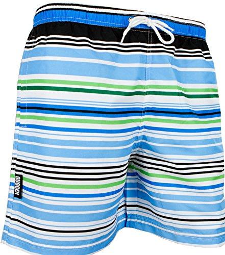 GUGGEN Mountain Herren Badeshorts Beachshorts Boardshorts Badehose Schwimmhose Männer gestreift Print* Farbe Gestreift L