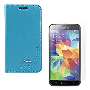 DMG Lishen Fine Leather Magnetic Wallet Folio Stand Case for Samsung Galaxy S5 (Light Blue) + Matte Anti-Glare Screen Protector