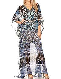 Sakkas Wilder Printed Design Long Semi Sheer Caftan Dress/Cover Up