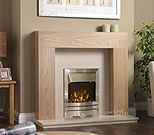 Electric Oak Wood Surround Cream Modern Brushed Silver LED Flame Fire Wall Fireplace Suite 48""