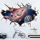 WandSticker4U- Wandsticker in 3D Optik: Sonnensystem | Wandbild: 60x90 cm | Wandtattoo Weltraum Himmel Universum Galaxy Planeten Weltall | Wandaufkleber Poster Deko für Kinderzimmer Junge GROSS