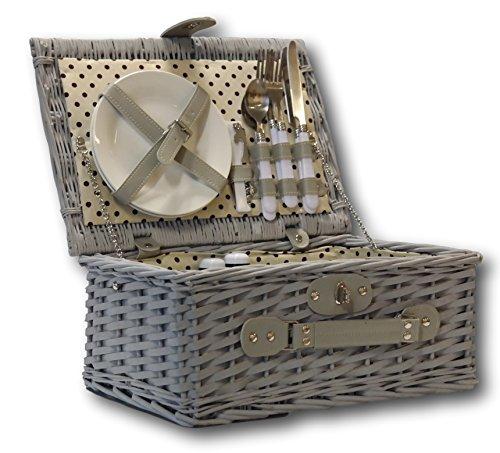 Preisvergleich Produktbild elbmöbel Picknick Korb komplett Porzellan Geschirr 2 Personen Weidenkorb Picknickkorb Weidenholz Weidenpicknickkorb Picknickset
