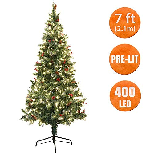 VlugTXcJ Christmas Tree Pre Lit Led 7 Ft Artificial Scandinavian Spruce with Berries and Pine Cones 100% Virgin Fire Retardant PVC Tips -