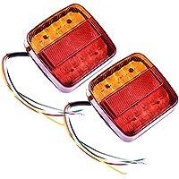 Wrighteu 2PCS Luces Traseras de Remolque Luz de Freno Indicador Rojo para Caravana Impermeable Atrás para Coche Camión Ambar 20 LED 12V