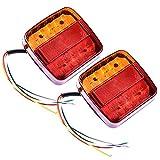 Tropicaleu 2PCS Luces Traseras LED 12V de Remolque Luz de Freno Indicador para Caravana Impermeable atrás para Coche Camión Camión Color Rojo Ambar