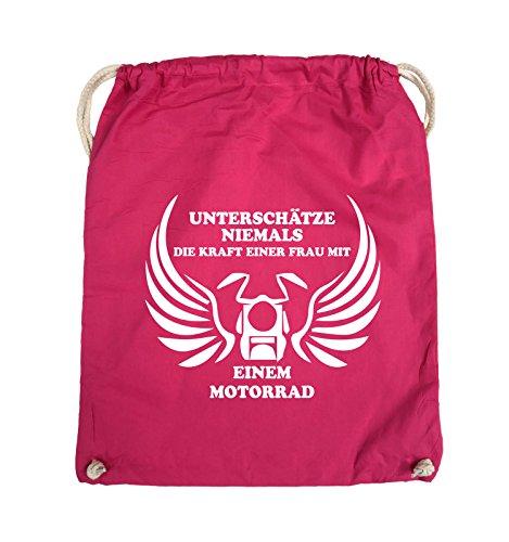 Comedy Bags - UNTERSCHÄTZE NIEMALS FRAU MIT MOTORRAD - Turnbeutel - 37x46cm - Farbe: Schwarz / Pink Pink / Weiss