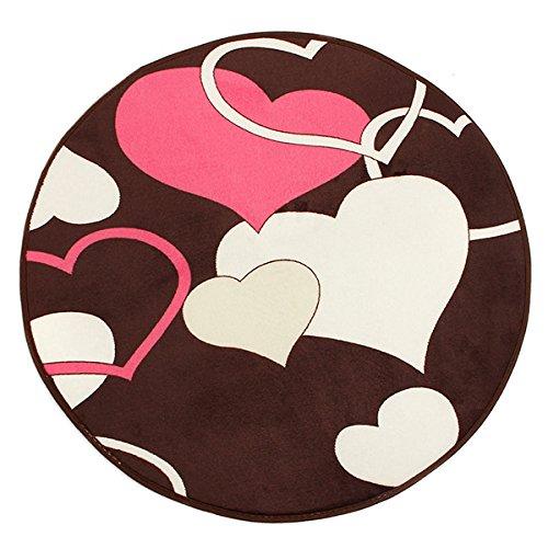 Bluelover 60x60cm Coral velluto bagno assorbenti tappeto Anti-Slip Mat Tappeto rotondo-cuore del caffè