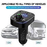 ZYX Bluetooth FM-Transmitter für Auto, drahtloser FM-Transmitter-Empfänger, 5V / 3.4A Dual-USB-Autoladegerät, FM-Radio-Transmitter mit Freisprechfunktion, AUX-Eingang/Ausgang,Black