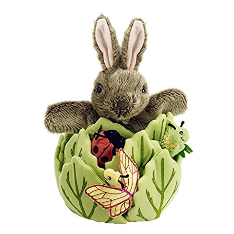 The Puppet Company - Hide Away Puppets - Rabbit in A Lettuce with 3 Mini Beasts Hand Puppet